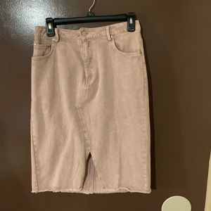 Medium Midi Pink Denim Skirt